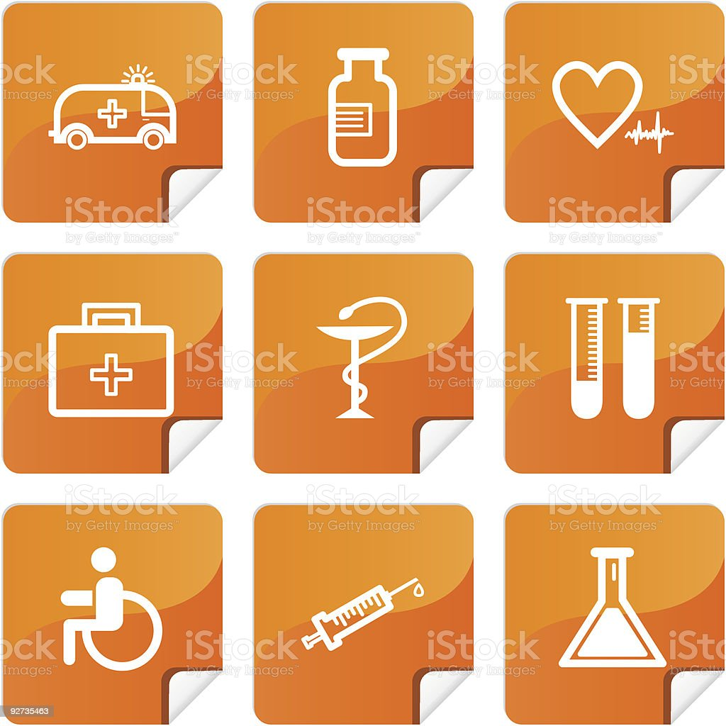 Orange stickers medicine icons set vector art illustration