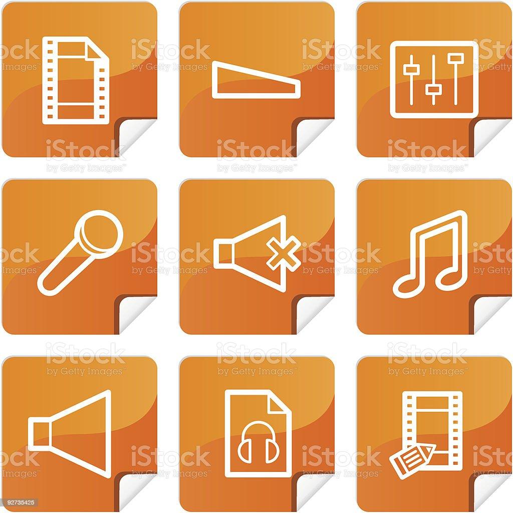 Orange Aufkleber mutimedia icons set Lizenzfreies orange aufkleber mutimedia icons set stock vektor art und mehr bilder von aquatisches lebewesen