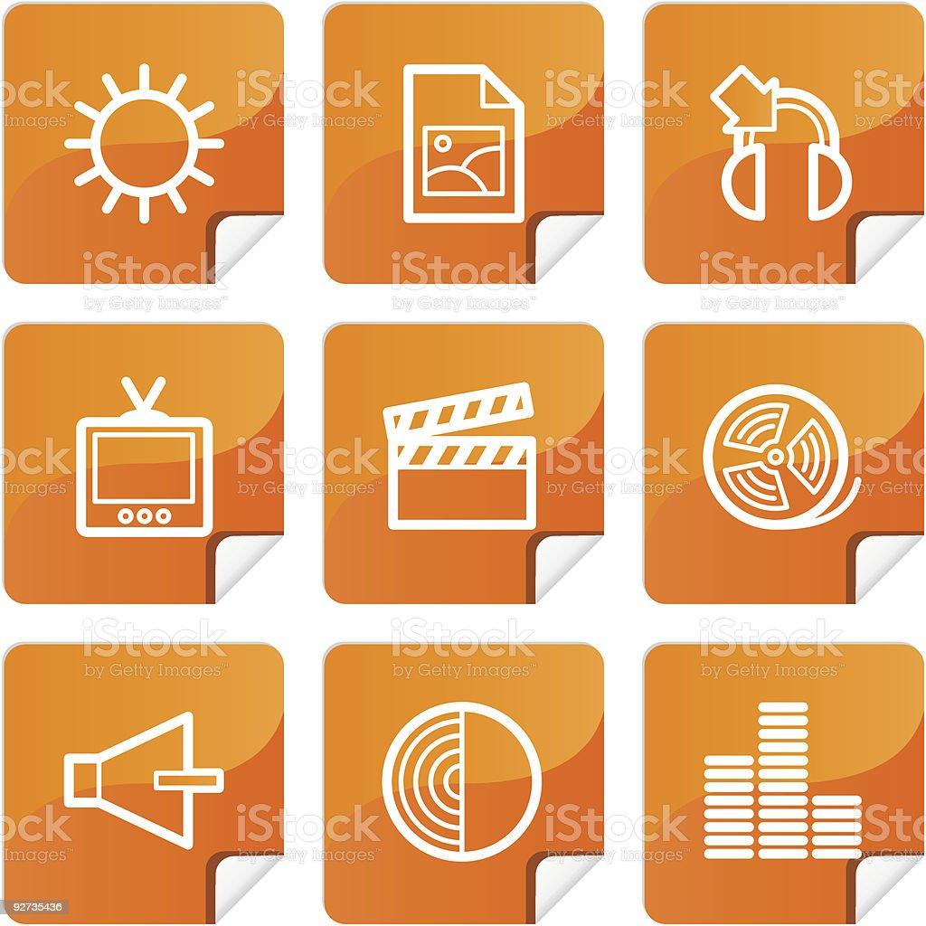 Orange Aufkleber mutimedia icons set Lizenzfreies orange aufkleber mutimedia icons set stock vektor art und mehr bilder von akte