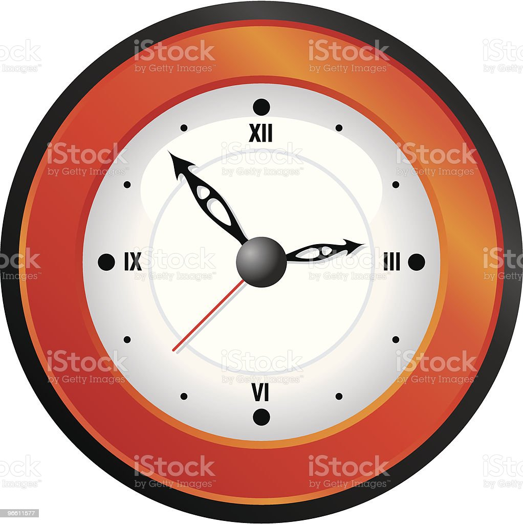 Orange wall clock - Royaltyfri Enkelhet vektorgrafik