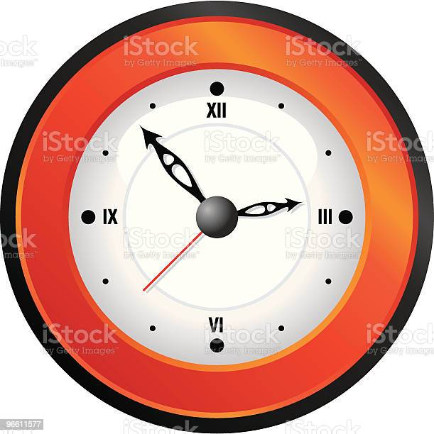 Orange Wall Clock-vektorgrafik och fler bilder på Enkelhet