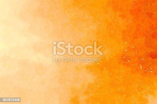 istock Orange yellow watercolor background 902823408