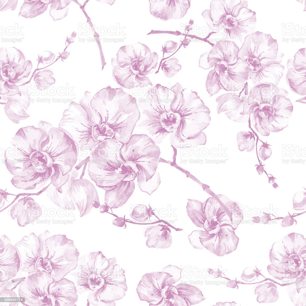 Orchid Flowers On White Background Light Pink Contour Seamless