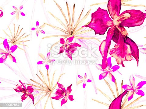Exotic Hawaiian Design. Thailand Upholstery Texture. Swimwear Print with Orchids, Palm Leaves. Magenta, Pink Orchid Seamless Pattern. Watercolor Floral Background. Tropical Summer Print.