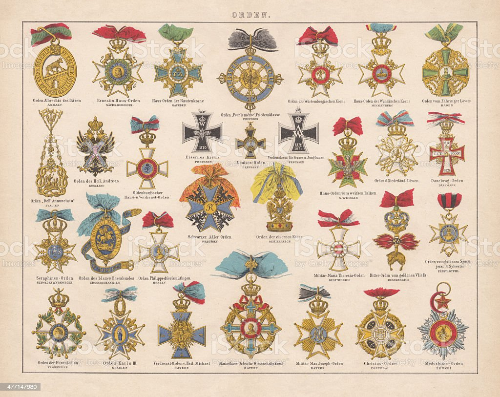 Orders and medals from Europe, lithograph, published in 1877 vector art illustration