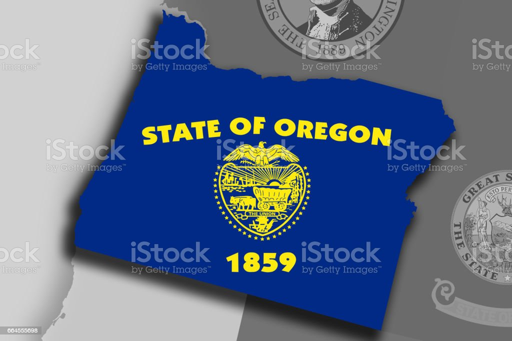 Oregon map and flag royalty-free oregon map and flag stock vector art & more images of cartography