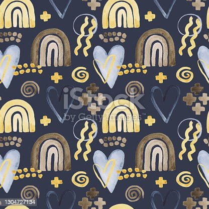 istock Organic shapes naïve pattern with rainbow, heart 1304727134
