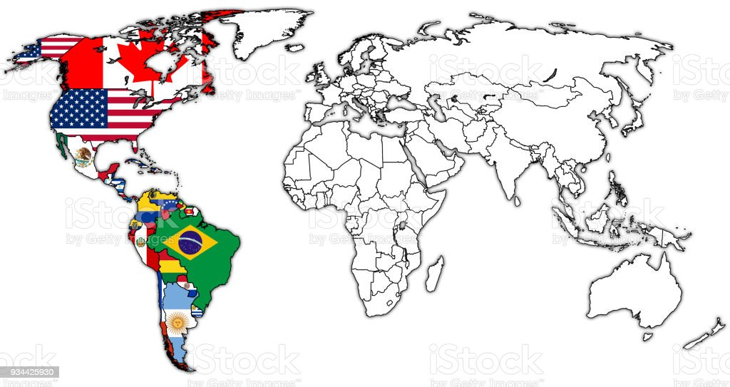 Organization Of American States Mamber Countries Flags On World Map