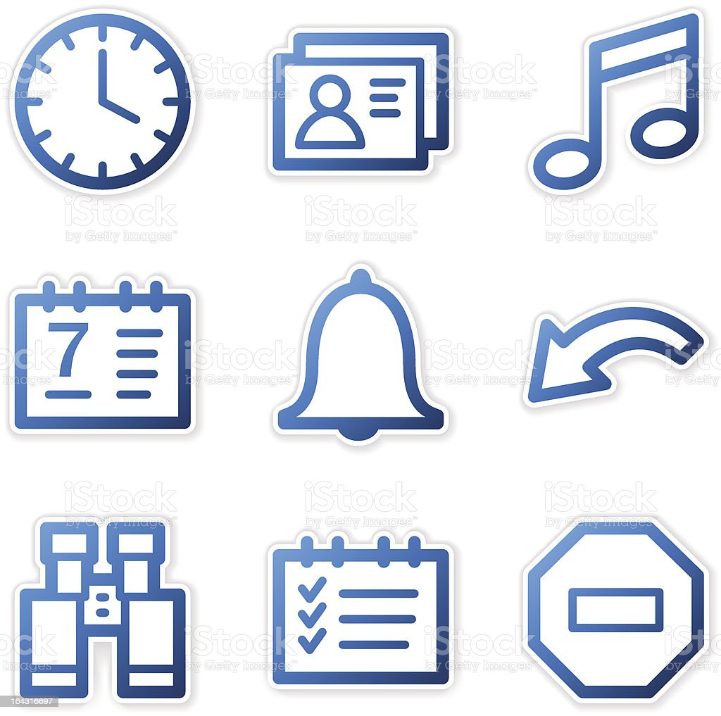 Organizer icons, blue contour series royalty-free organizer icons blue contour series stock vector art & more images of alarm clock