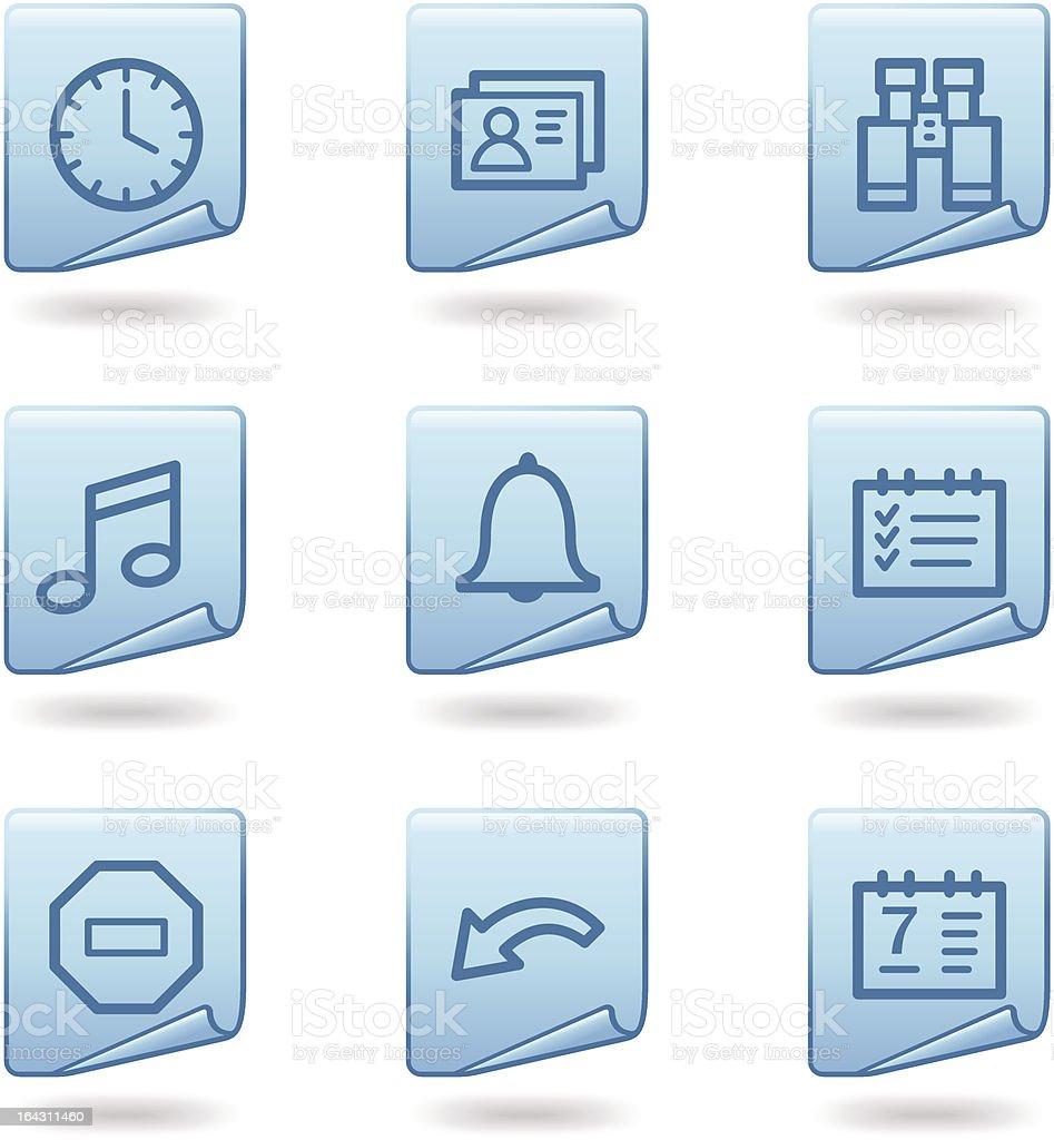 Organizer icons, blue sticker series royalty-free stock vector art