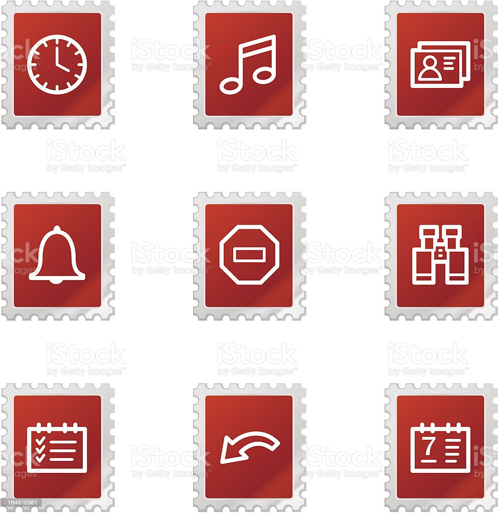 Organizer icons, red stamp series royalty-free organizer icons red stamp series stock vector art & more images of alarm clock