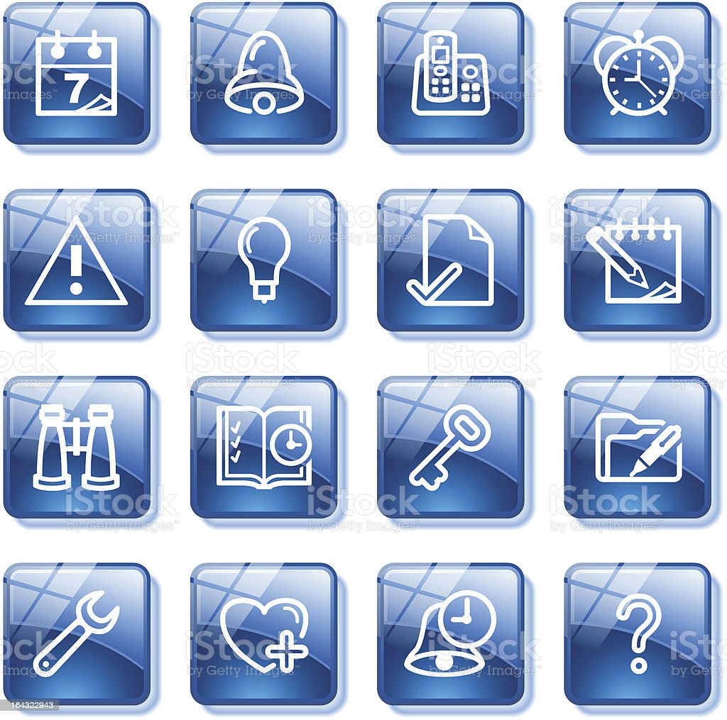 Organizer web icons. Blue glass buttons series. royalty-free stock vector art