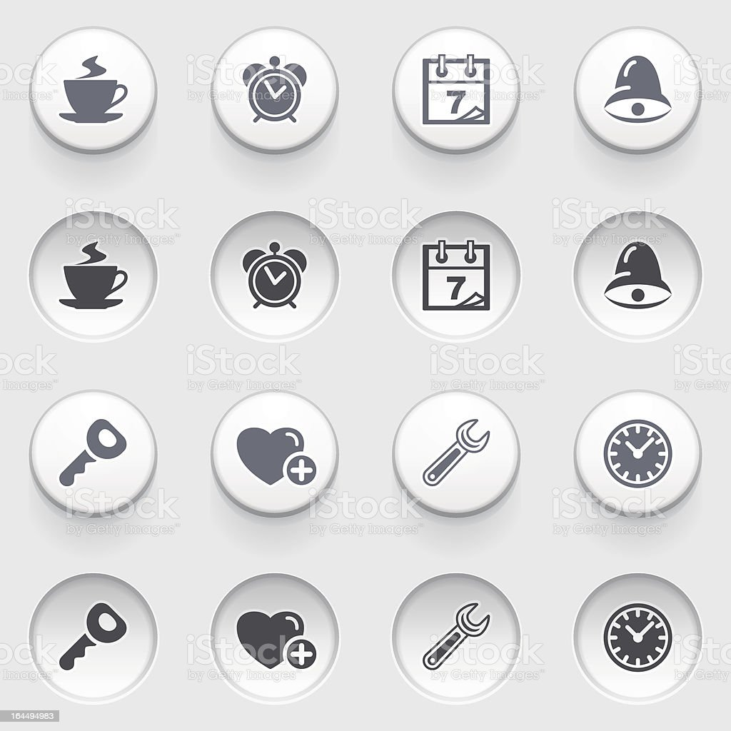 Organizer web icons on white buttons. Set 2. royalty-free organizer web icons on white buttons set 2 stock vector art & more images of alarm clock