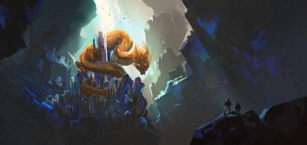 Orientalischer Drache sitzt auf einem Edelstein, Fantasy-Illustration. – Vektorgrafik