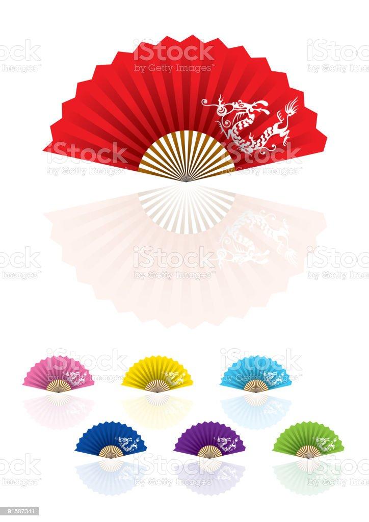 Oriental Fan Dragon on white royalty-free oriental fan dragon on white stock vector art & more images of art