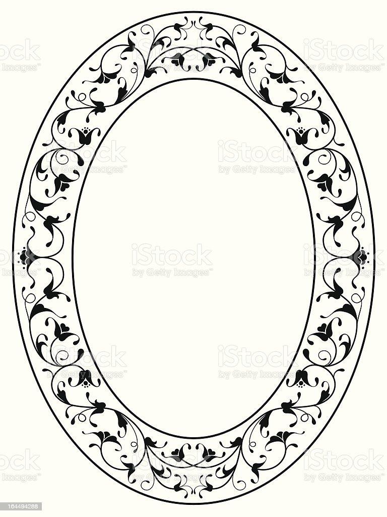 oriental floral ornamental black oval frame vector art illustration