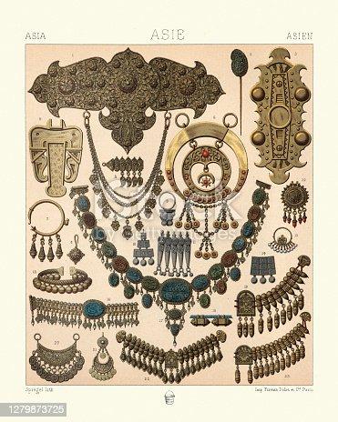 istock Oriental jewellery, gold, nacklaces, earrings, bracelets, 19th Century 1279873725