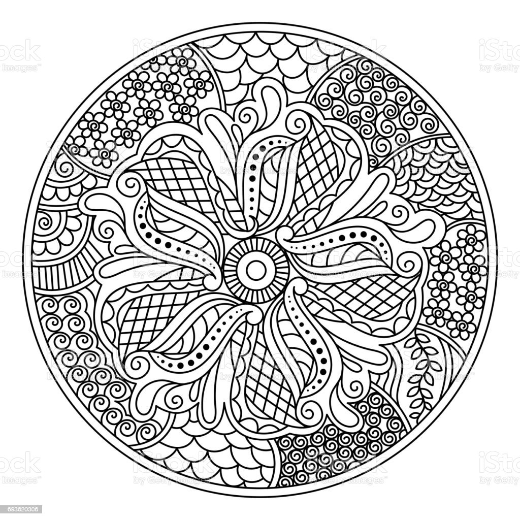 Oriental Mandala Design For Coloring Book Round Decorative Element With Floral Royalty