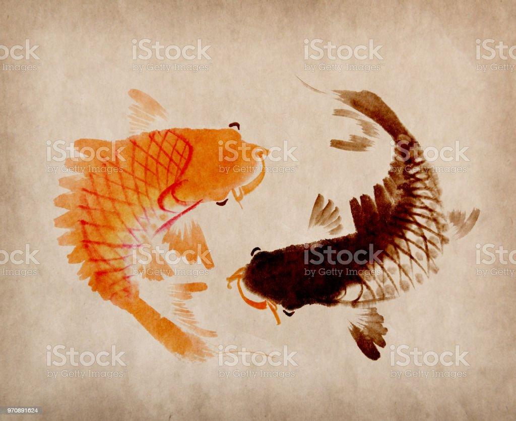 Ilustración De Pinturas Orientales De Yin Yang Fishes Con Peces Koi