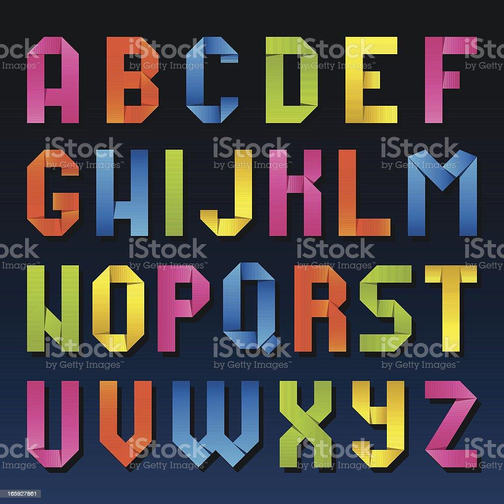 Origami Alphabet royalty-free stock vector art