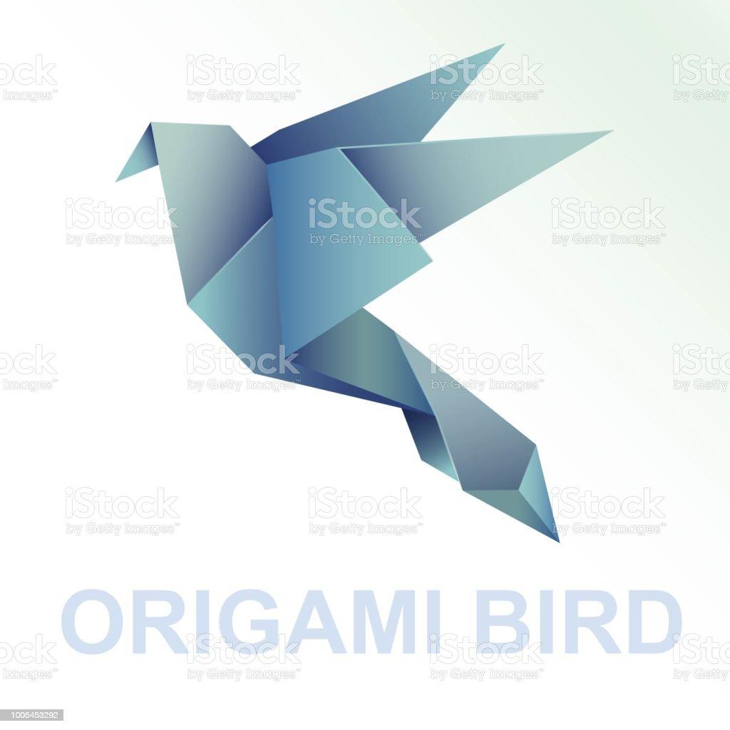 折り紙鳥青紙アート イラスト おもちゃのベクターアート素材や画像を