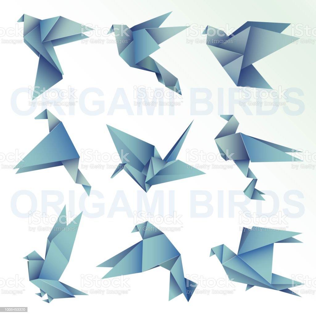 Origami Bird Blue Paper Art Illustration Stock Vector Art More