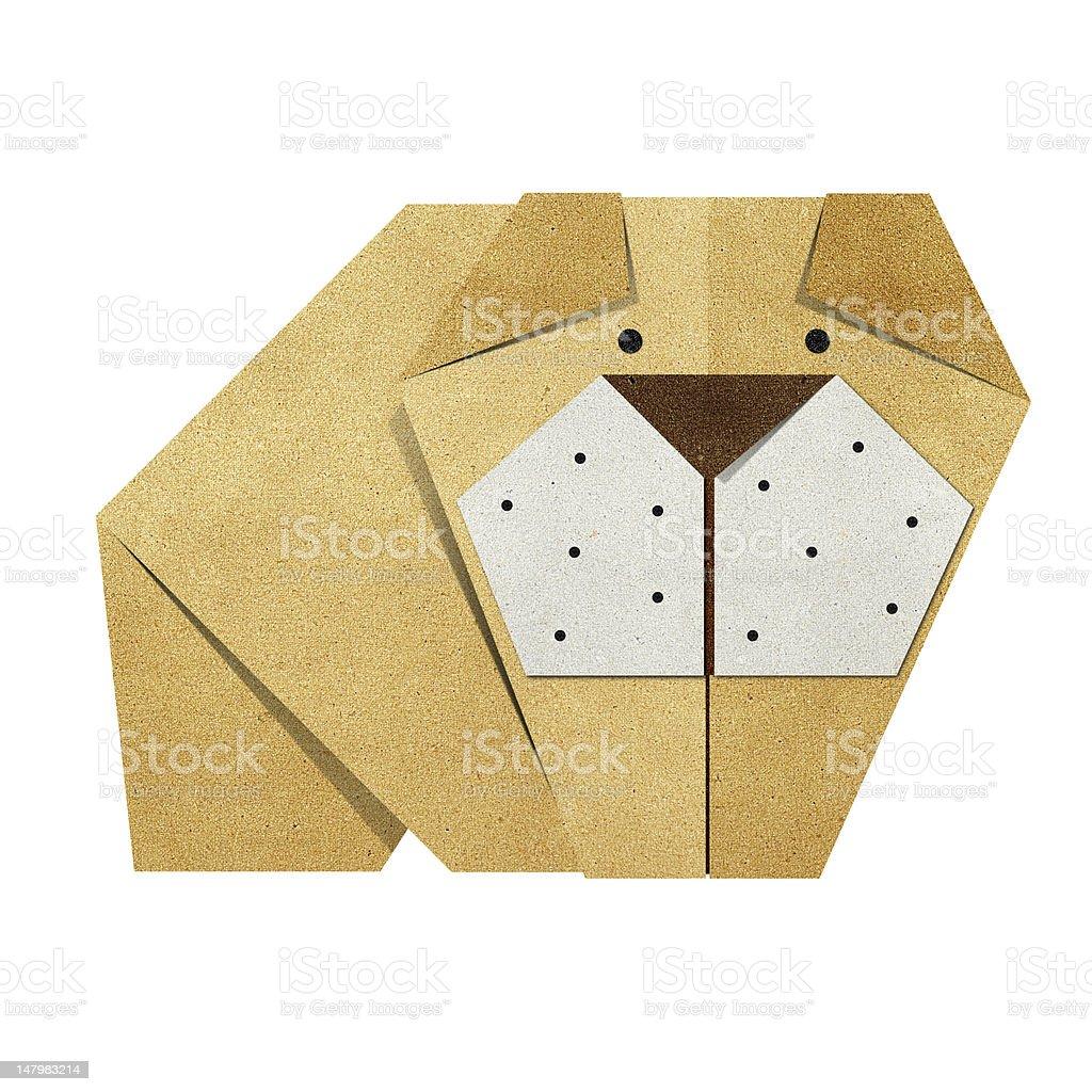Origami bulldog Recycled Papercraft royalty-free stock vector art