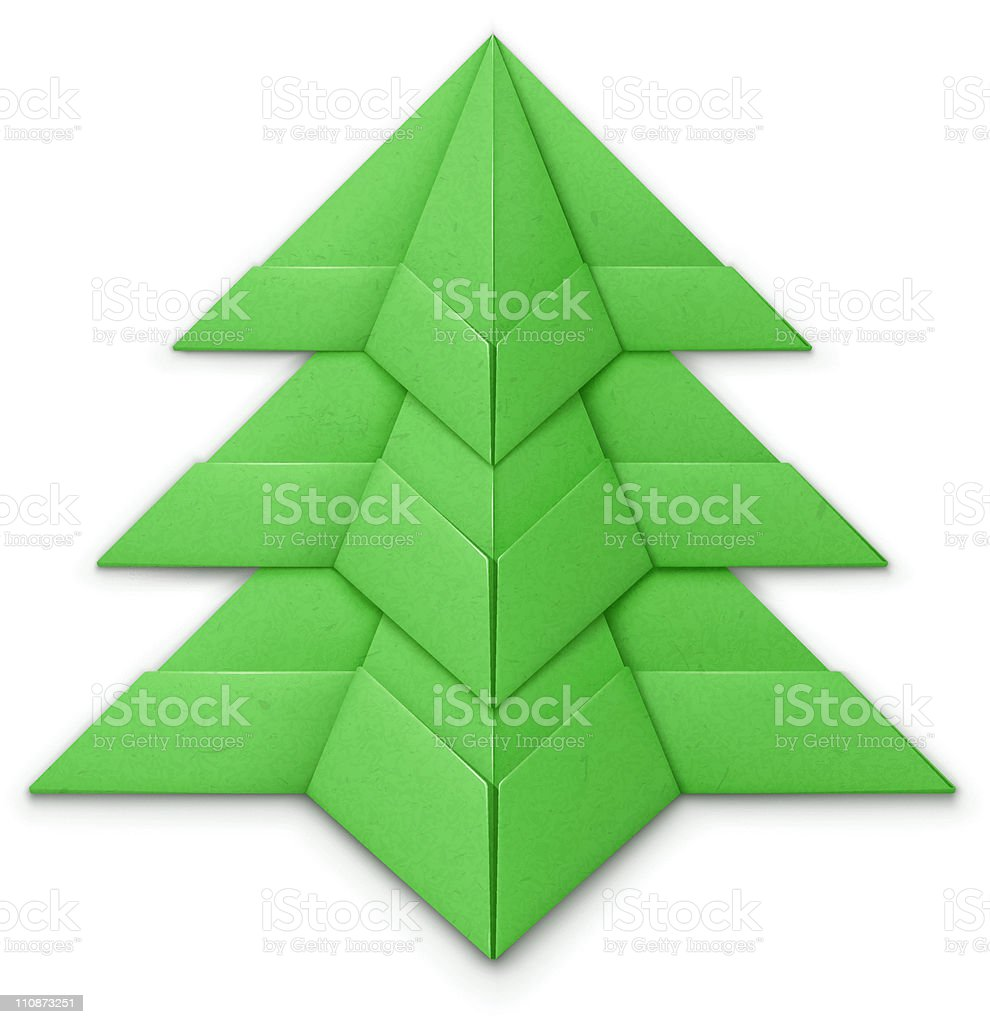 Origami Christmas tree vector art illustration