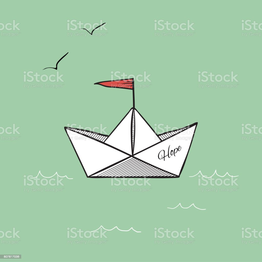Topic Musique - Page 39 Origami-paper-ship-hope-on-sea-waves-illustration-rasterized-copy-illustration-id807817036