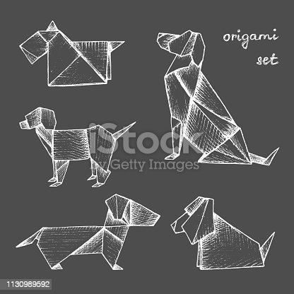 Origami - set of 5 white paper dogs