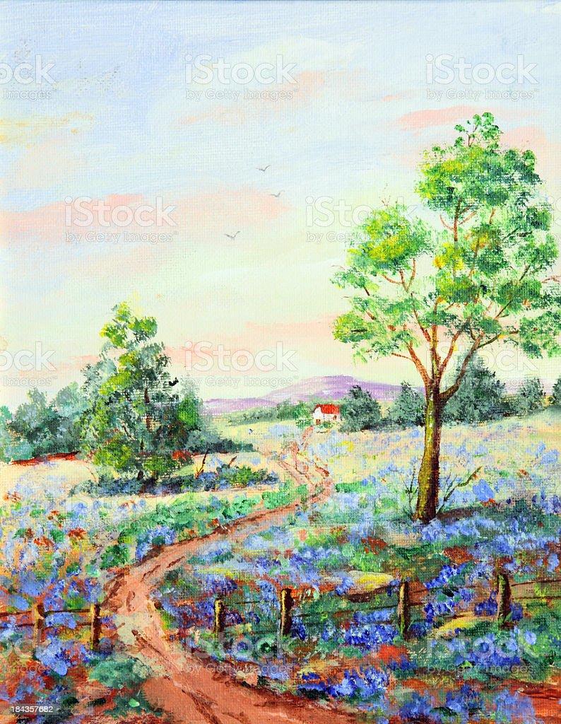 Original Art acrylic painting of Rural Scene vector art illustration