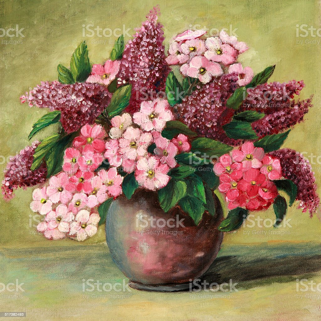 Original Art painting of Lilacs and Phlox in vase vector art illustration