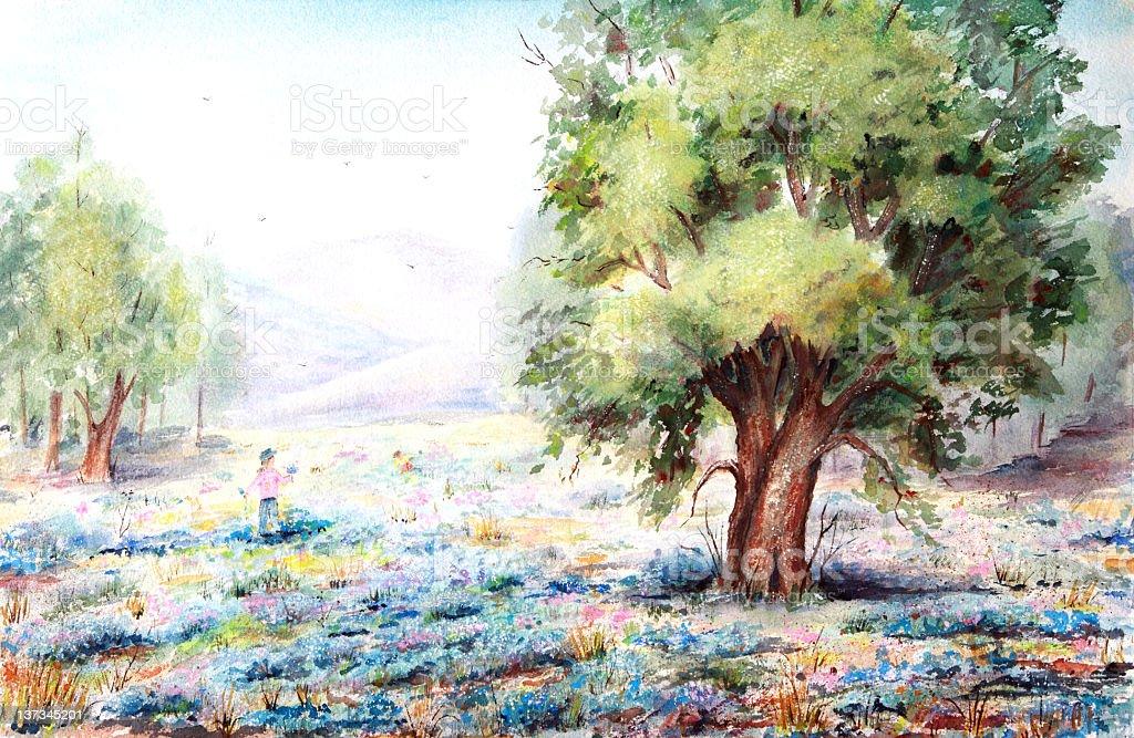 Original Art Spring Rural Scene vector art illustration