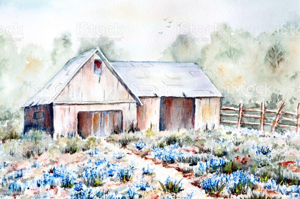 Original Art Spring Rural Scene with Flowers and Barn vector art illustration