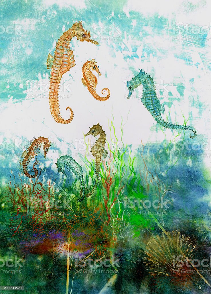 Original Artwork Seahorses Under The Ocean With Seafans And Algae vector art illustration