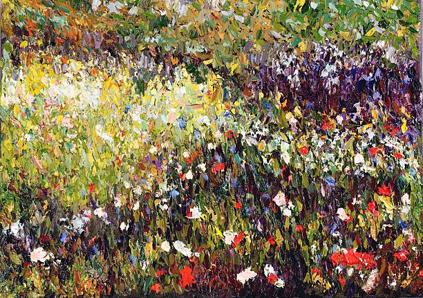 Original Impressionist Art oil painting of Meadow with Flowers Oil painting (done by contributor) of a meadow with flowers done in the French Impressionist styleFor more original art click below. impressionism stock illustrations