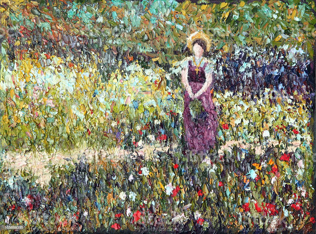 Original Impressionist Art Woman in Meadow using oil paints vector art illustration