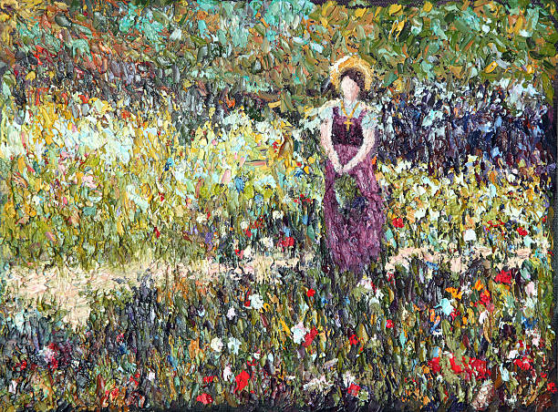 Original Impressionist Art Woman in Meadow using oil paints Original oil painting of a woman standing in a field of flowers done in French impressionist style. Painting done by contributor.  Property release on file. impressionism stock illustrations