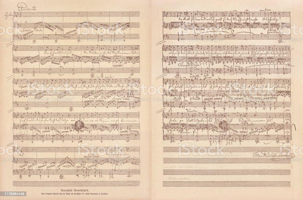 Original manuscript by Felix Mendelssohn Bartholdy, facsimile, published in 1885 - Zbiór ilustracji royalty-free (Akwaforta)