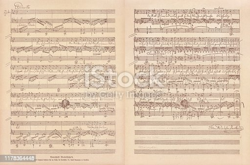 Original manuscript by Felix Mendelssohn Bartholdy (German composer, 1809 - 1847). Facsimile, published in 1885.
