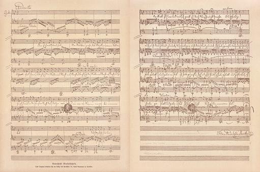 Original Manuscript By Felix Mendelssohn Bartholdy Facsimile Published In 1885 - Stockowe grafiki wektorowe i więcej obrazów Akwaforta