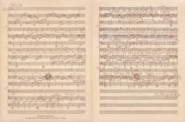 original manuscript by felix mendelssohn bartholdy, facsimile, published in 1885 - zapis nutowy stock illustrations
