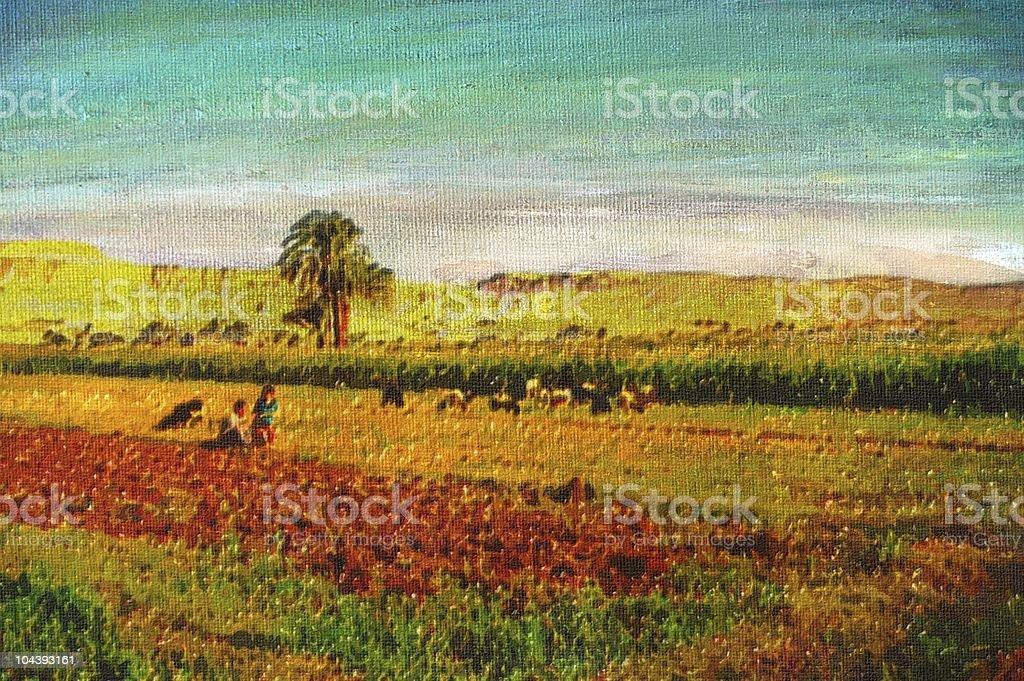original oil painting vector art illustration