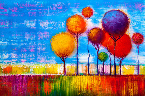 original oil painting of autumn landscape - modern art stock illustrations