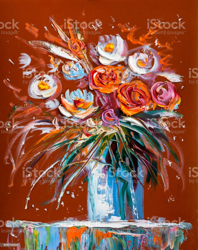 Original Oil Painting Of Beautiful Vase Or Bowl Of Fresh Roses Stock