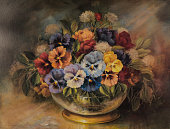 Original Oil Painting Of Colorful Flower Arrangement In Gold leaf Bowl
