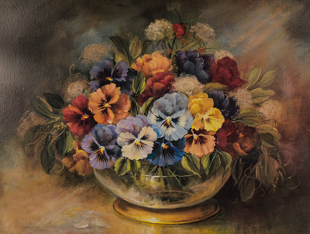 Original Oil Painting Of Colorful Flower Arrangement In Gold Bowl Original Oil Painting Of Colorful Flower Arrangement In Gold leaf Bowl still life stock illustrations