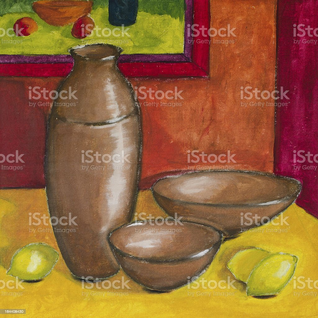 Original oil painting of lemons and pots vector art illustration