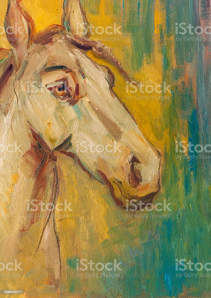 Original Oil Painting On Canvasarabian Horse Portrait Stock Illustration Download Image Now Istock