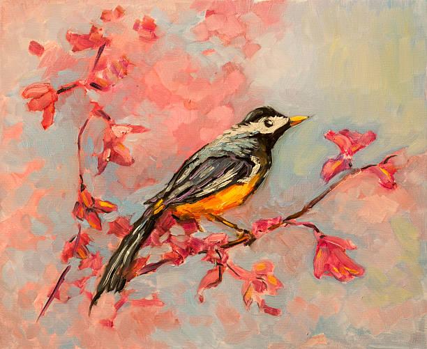 ilustrações de stock, clip art, desenhos animados e ícones de original pintura a óleo sobre paper.parrot na madeira. - bills couple